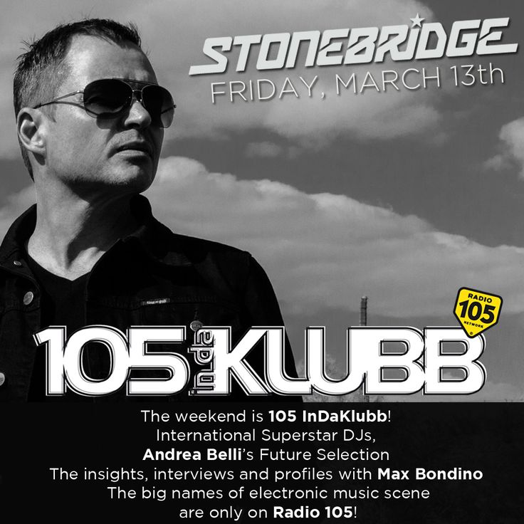 Back on Italy's No 1 Club Station, Radio 105 with an exclusive one hour set on Friday all over Italy and streaming on 105.net #stonebridge #radio105 #italy #house