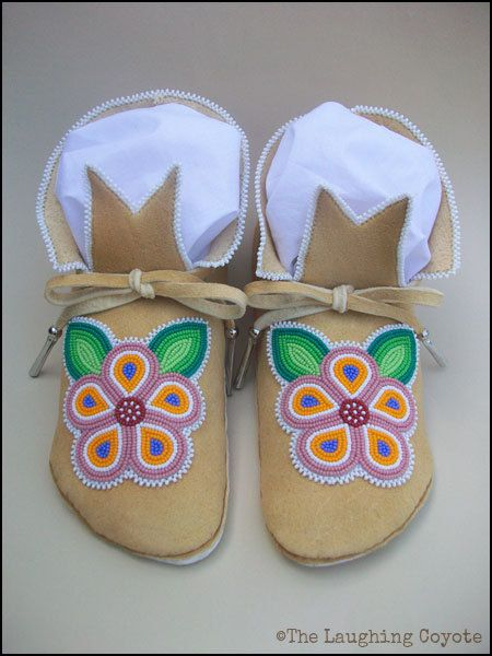Native American Style Beaded Adult Moccasins, Woman's Moccasins, Ojibwe Inspired, Floral Beadwork, Applique Stitch, Brain Tanned Deer Hide