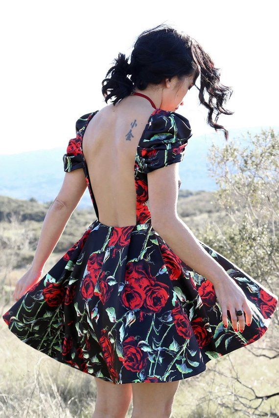 Open back dress in a beautiful red rose print over white stretch woven  fabric. Fully flared with pleats a2e1b4ede