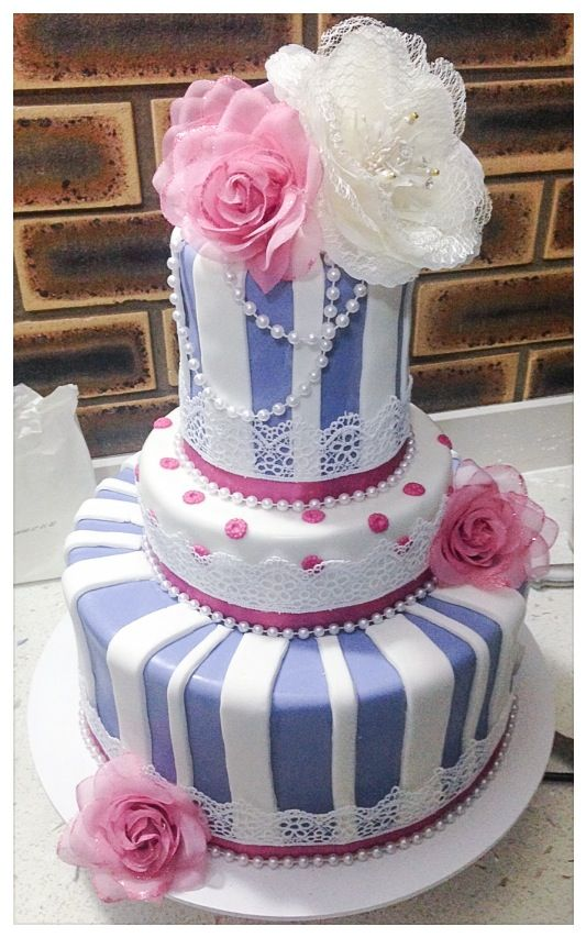Elegant 90th birthday cake