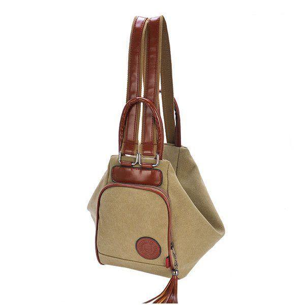 Women Canvas Tassel Backpack Casual Diagonal Handbags Multi Functional Shoulder - US$41.56