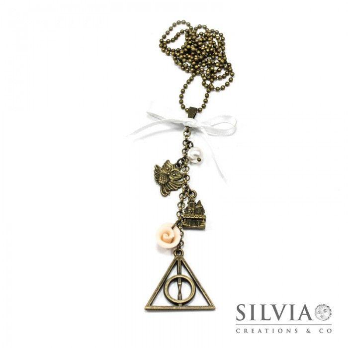 Collana lunga Harry Potter  inspired con Doni della Morte bronzo