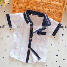 2016 nuovo arrivo delle neonate e ragazzi plaid shirt a manica corta abbigliamento primavera/autunno camicie di cotone infantile camicette 19(China (Mainland))