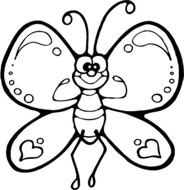 Butterfly Funny Cartton Butterfly Being Strong Coloring Page