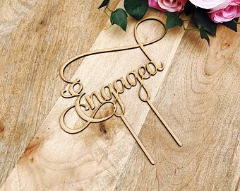Engaged cake topper by Sugarboo personalized cake toppers we are engaged Cake Topper Cake Decoration Cake Decorating Engagement Cake