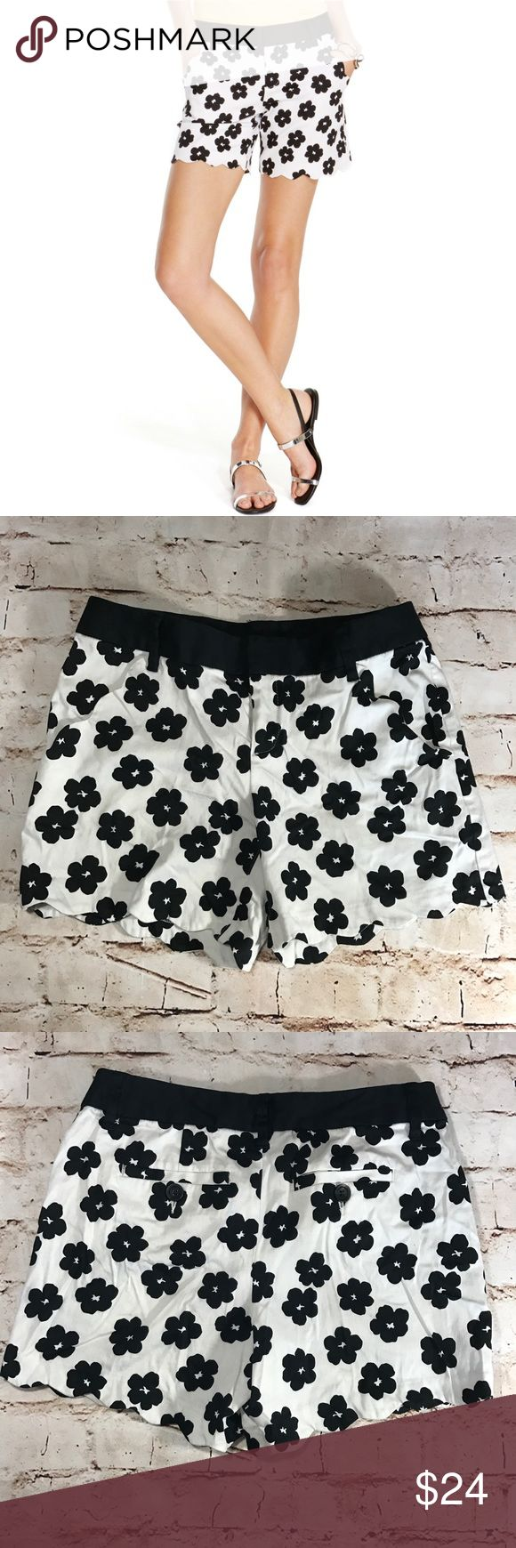 INC- Floral Print Shorts Black and white retro-floral print shorts with scalloped cuffs and pocket design. Mid-rise, waist sits below natural waist. Slim fit at hips and thighs. Double hook & bar closures with zipper. Front pockets and belt loops. 98% Cotton; 2% Spandex. INC International Concepts Shorts