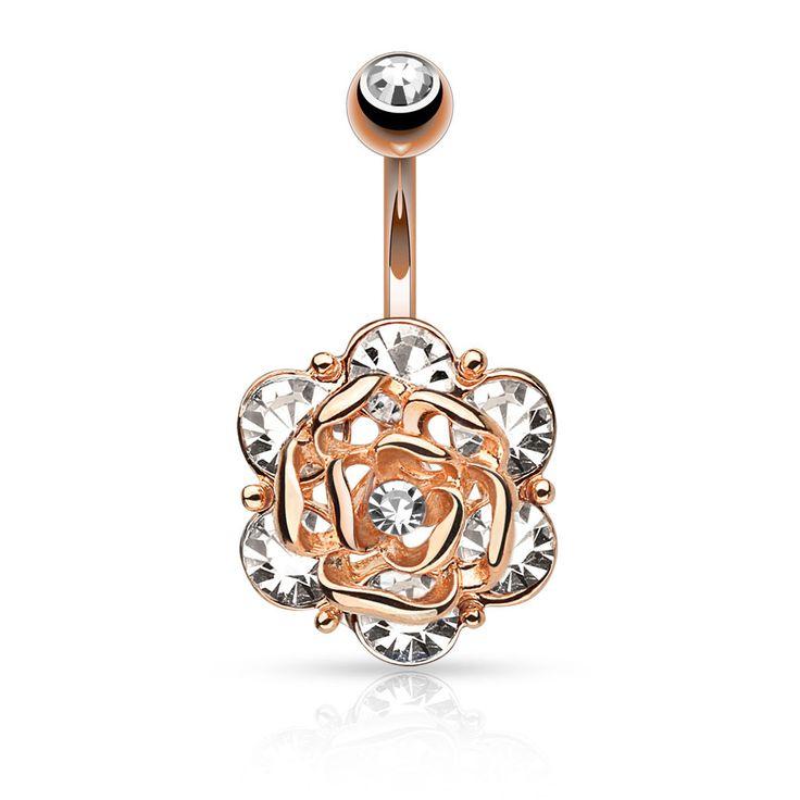 Rose Gold Gemmed Rose Belly Ring