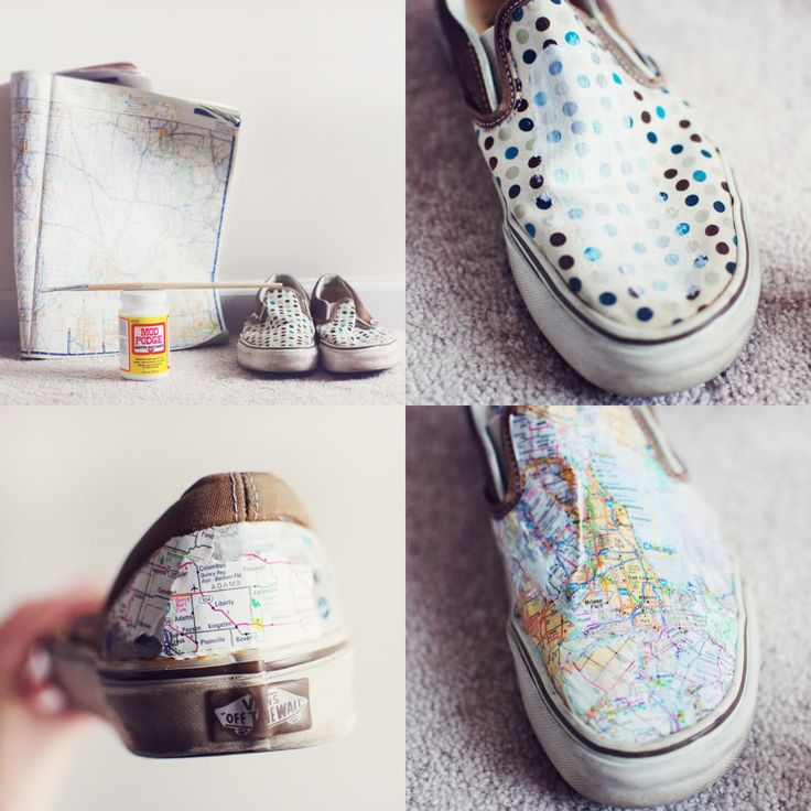 Make Your Own Map Shoes - You'll need a pair of canvas shoes, a large map or atlas, Mod Podge, a paintbrush, and some newspaper (optional).  Click image for Mandy Crandell's Somthing Monumental blog instructions.  More at http://mandycrandell.blogspot.com/2012/04/make-your-own-map-shoes.html
