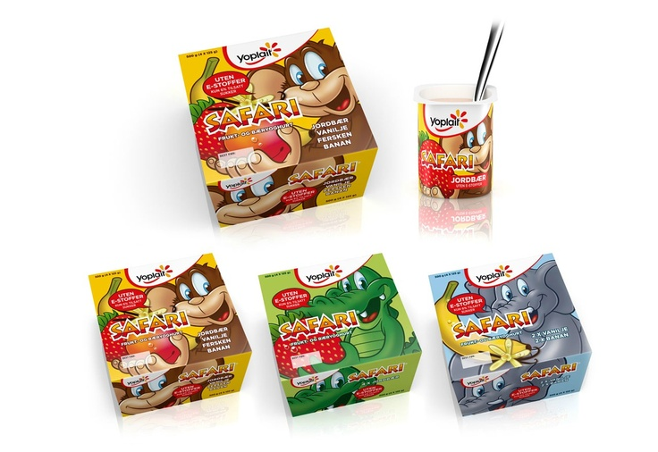 Safari: Norwegian Yoghurt for kids! Nice packaging design by Strømme Throndsen Design and illustration by me.