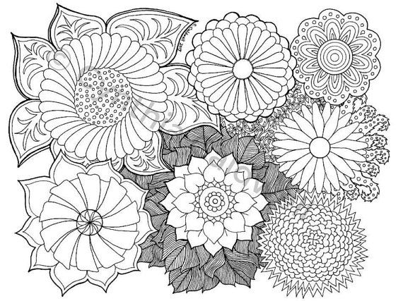 Flowers Doodle 2 Coloring Page Instant Download