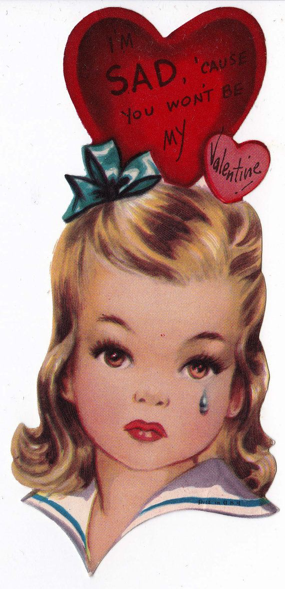 Vintage 1920's UNUSED Won't You Be My Bow Valentine Greetings Card (B7)