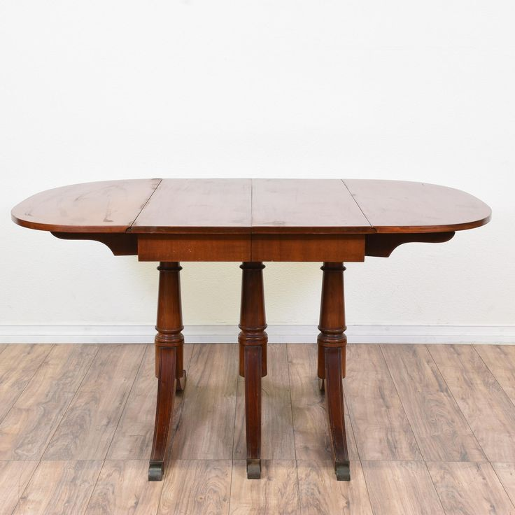 Duncan Phyfe Triple Pedestal Drop Leaf Table