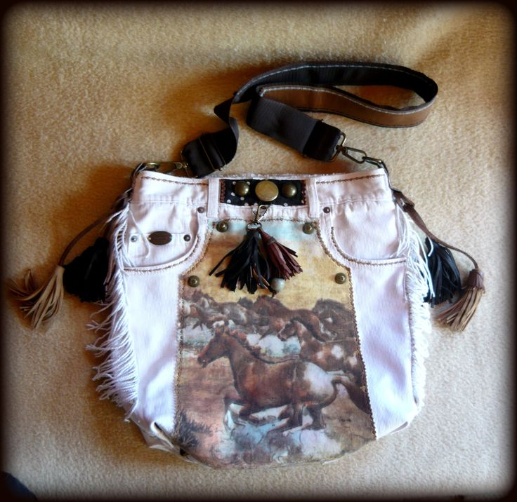 Handmade by Judy Majoros - White denim fringe polka dots hobo bag. Recycled bag.