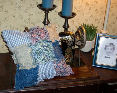 """This 16"""" charming country raggedy 9 patch pillow is quick and easy to make. It is just right for the novice sewer/quilter and will add country charm to any room in your home."""