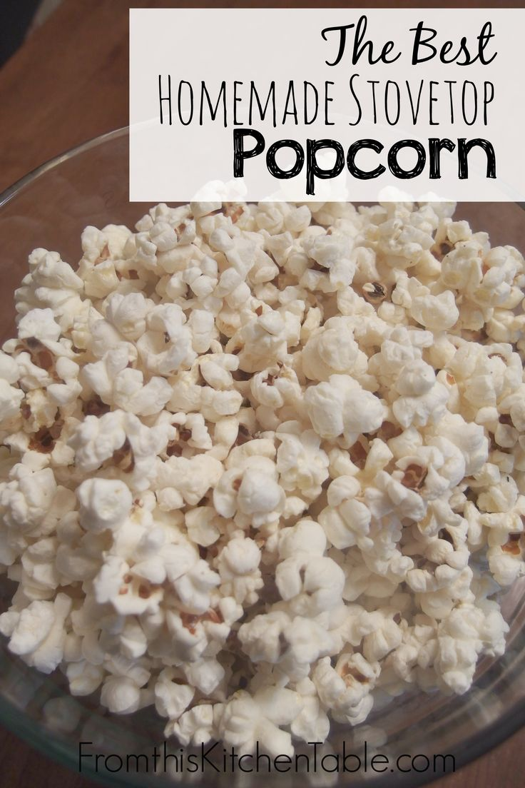 Mmm. The best homemade stovetop popcorn. Leave the yucky microwaved stuff behind. This is my family's favorite snack - the perfect movie night snack too.