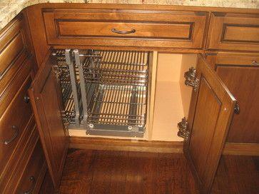Dead corner baskets - Mediterranean - cabinet and drawer organizers - Lodi, ca - http://www.customhomesmiller.com/