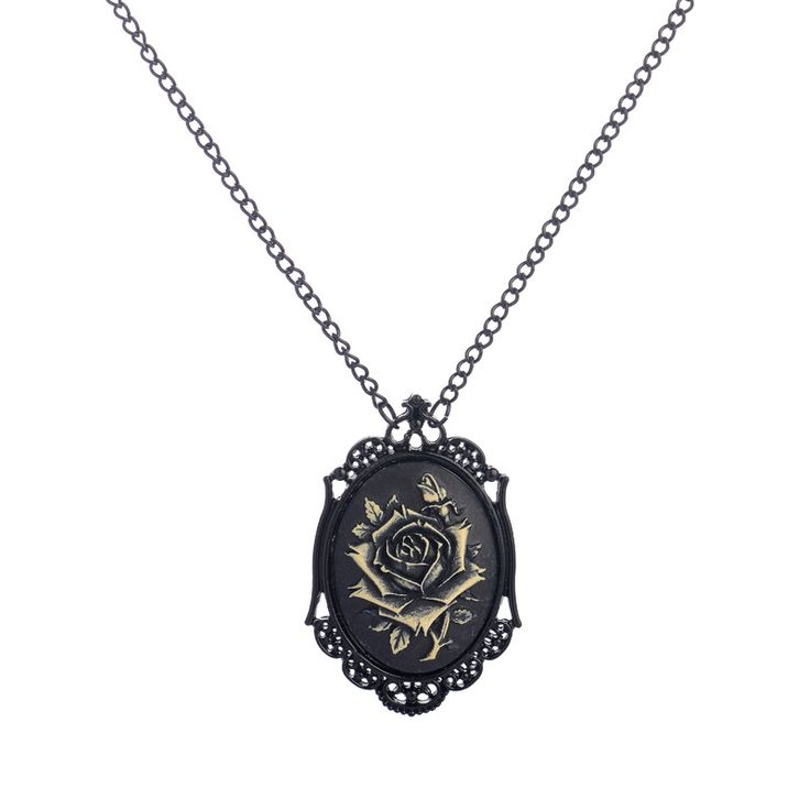 Women's Black Rose Gothic Pendant Necklace