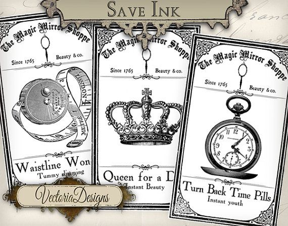 Magic Mirror Shoppe Eco Labels save ink Bottle by VectoriaDesigns, $3.65