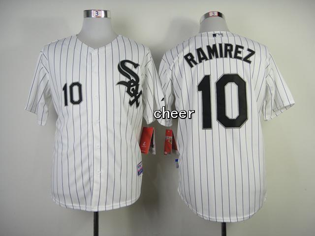 Men's MLB Chicago White Sox #10 Alexei Ramirez White Black Strip Cool Base