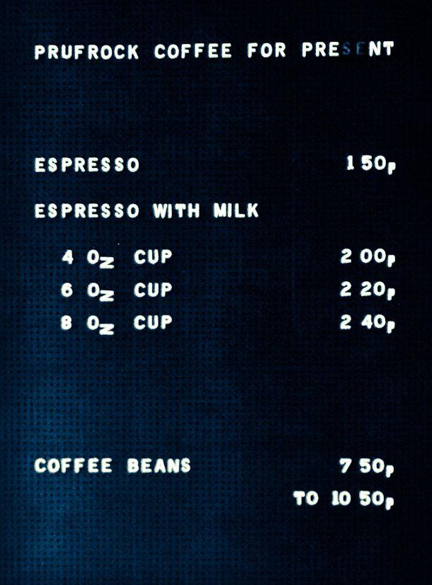 Prufrock Coffee, London | FRSHGRND  (Interesting way to display coffee menu)