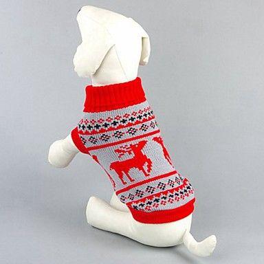 Gatti Cani Maglioni Abbigliamento per cani Inverno Primavera/Autunno Renna Classico Natale Nero Rosso del 5290154 2017 a €9.99