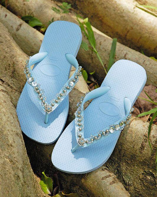 rubber flip flops light blue decorating idea silver beads