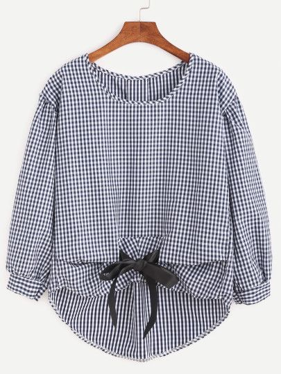 Checkered Bow Tie High Low Blouse