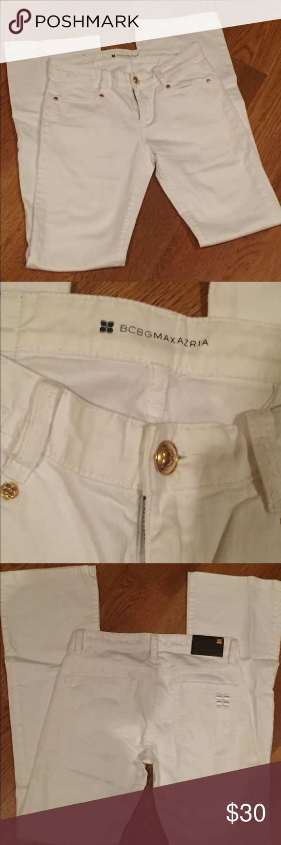 "BCBG White Bootcut Jeans Hardly worn, white denim in Bootcut style. Gold hardware. 8.5"" rise, 31"" inseam, 26"" waist. 99% cotton, 1% spandex. BCBGMaxAzria Jeans Boot Cut"