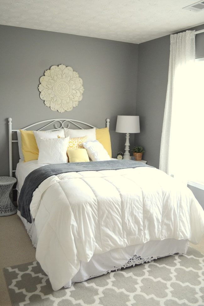 Guest Bedroom Gray White And Yellow Guest Bedroom Guest Bedroom Colors Guest Bedroom Decor Small Guest Bedroom