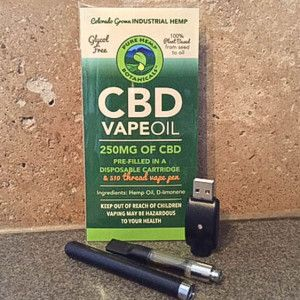 CBD in a Pre-Filled Disposable Cartridge & 510 Thread Vape Pen Enjoy the benefits of hemp with Pure Hemp Botanicals' CBD Vape Oil. This package includes a pre-filled disposable cartridge of hemp oil containing 250mg CBD, 510 thread vape pen and charger. It's glycol-free and 100% plant based from seed to oil. Serving size 2.5mg.  www.HempyCBDoil.com