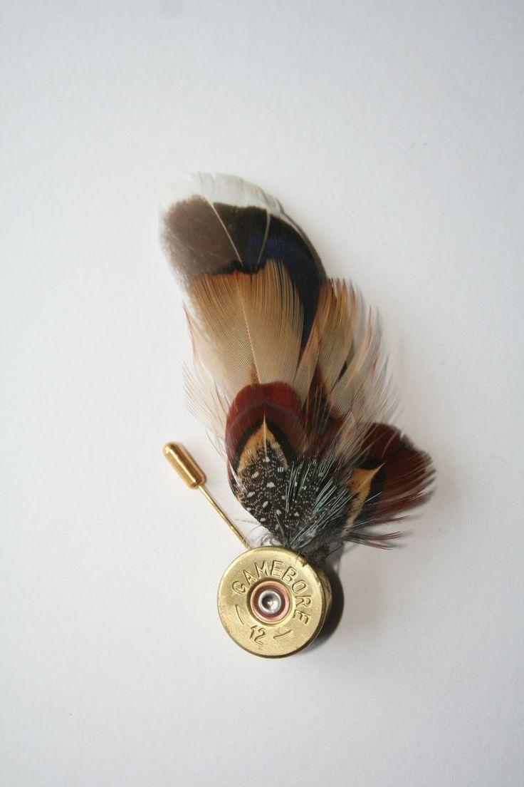 Feather Lapel Pin - Brass Colour Cartridge Base