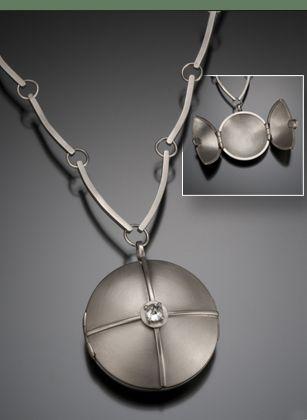 Necklace    Michele Mercaldo: Lockets, 25 Carat, 14K White, Pendants Necklaces, Container, Carat Diamonds, Jewelry, White Gold, Necklaces Pendants 1 2 S