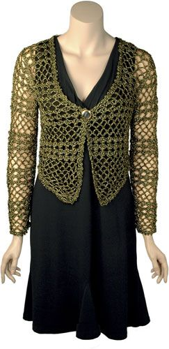 Liza is a long sleeved evening cardigan crocheted in mesh and shell stitches.