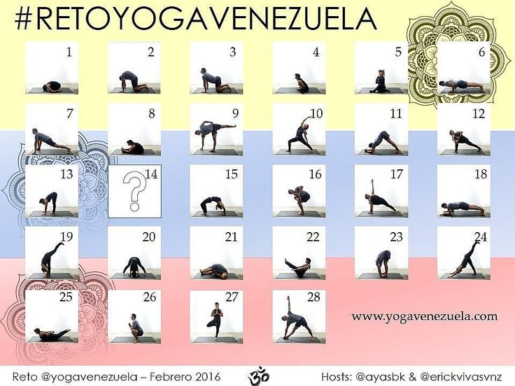 Feliz Domingo Yogis!!! Les dijimos que seguiríamos con los retos y mañana comienza el #RetoYogaVenezuela Febrero 2016!!! HOSTS: @AyaSBK & @ErickVivasVnz  SPONSOR: @YogaVenezuela @cristhoferson @yogahappenings  Este reto es para todos independientemente de su nivel de práctica. Especialmente para los que se quieren iniciar en el Yoga. Este es el calendario oficial del #RetoYogaVenezuela cada día uno de nuestros host les indicara en su cuenta algunos tips para lograr cada una de las posturas y…
