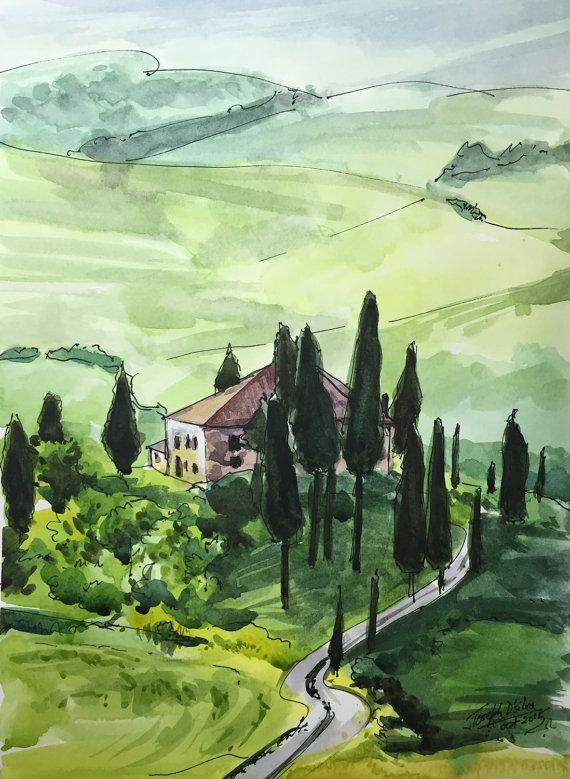 Tuscany Italian Watercolor Painting Watercolors by TheJoeyStudio