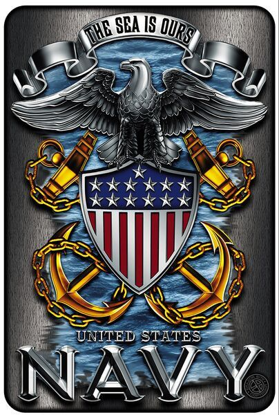 Beautiful Aluminum US Navy Eagle with Anchors Sign! - FREE Shipping! - Show Off Your Pride with this on your wall! - 8 inches x 12 inches Note: There are no returns on signs