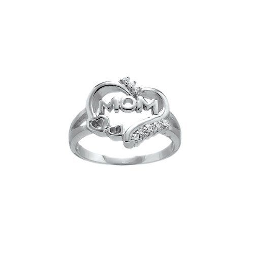 """Sterling Silver CZ """"Mom"""" Heart Ring for Mother's Day. Available in sizes 6 through 9 Beaux Bijoux. $33.99. Show the mom in your love that you care. Can be delivered next Business Day!. Gift box included. Crafted of 925 Sterling Silver"""