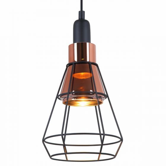 Lampada Vicino Copper Shade & Cage Pendant Light