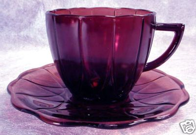 Purple Depression Glass Cat   Purple AMETHYST Depression Glass NEWPORT Cup HAIRPIN Completed