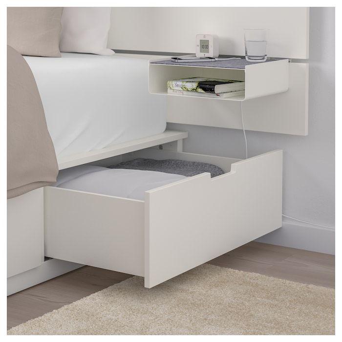 Nordli Estr Cama C Arrum E Cabeceira Branco 140x200 Cm Ikea Headboards For Beds Ikea Nordli Bed Frame With Storage