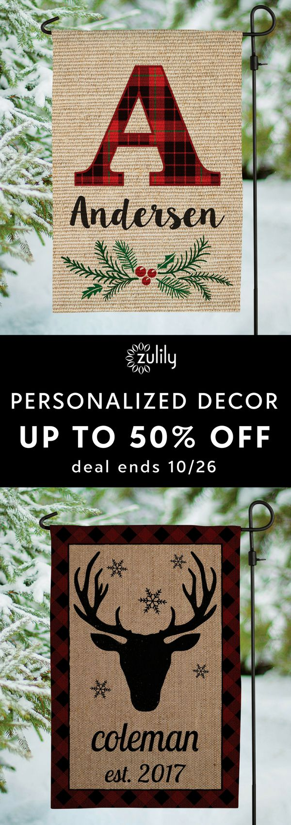 Sign up to shop personalized home decor, up to 50% off. You're set to spruce up the home for the holidays, but you're missing a key ingredient — personalized décor. Shop outdoor flag signs, wall art, ornaments, mugs, and more to spread good cheer. Deal ends 10/26.