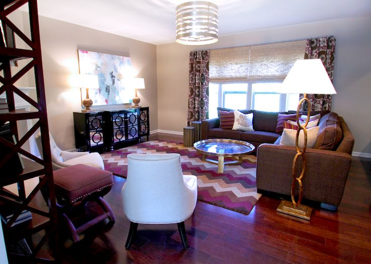 Beige Purple Living Room