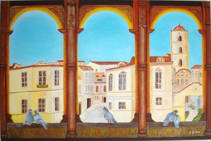 Olio su tela 50x75 Terrazza ad archi e casa piccioni
