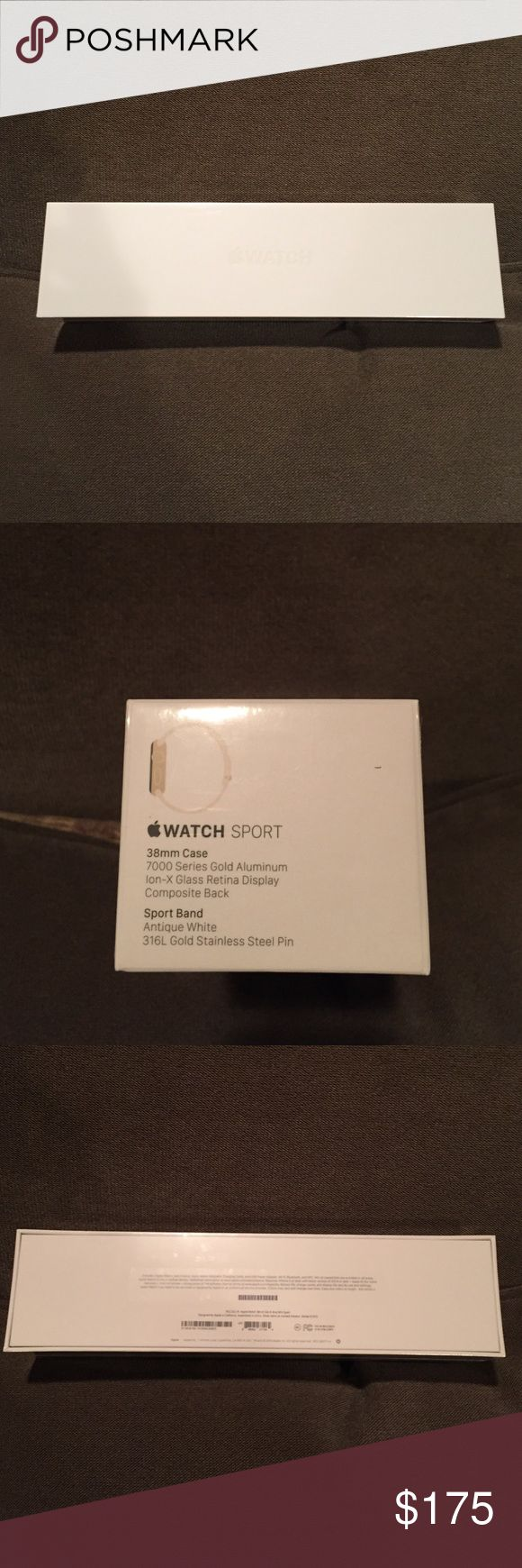 Apple sport watch Brand new, never opened Apple Watch 38mm case - 7000 series gold aluminum Ion-X Glass Retina display composite black - sport band antique white. Perfect holiday gift!! Apple Accessories Watches
