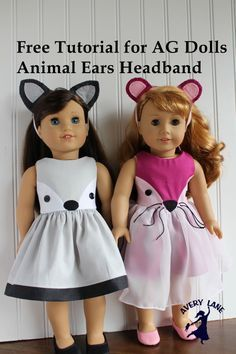 """Free tutorial for 18"""" AG dolls animal ears headbands. Templates for fox, bunny, cat, mouse, wolf, and otter to go with Fiona fox dress pattern by Avery Lane"""