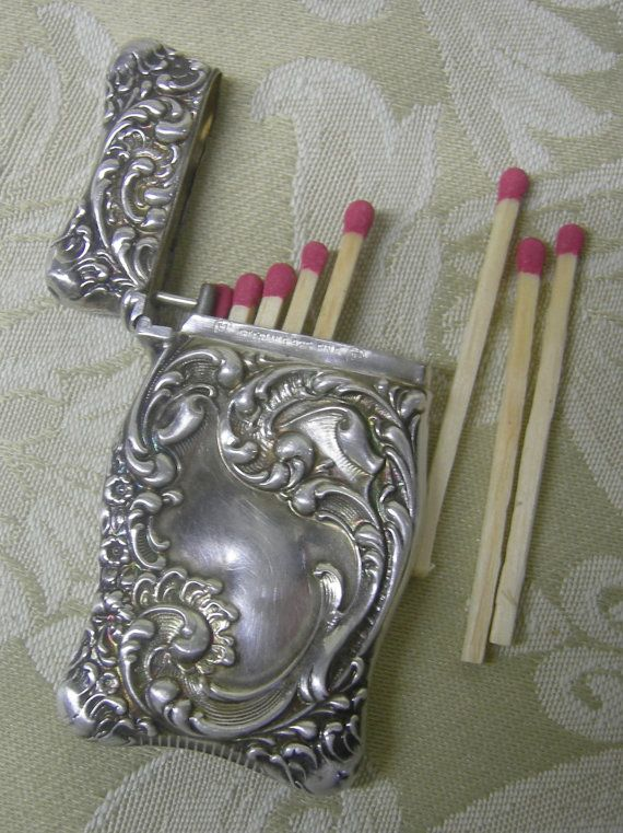 Victorian Sterling Silver Repousse Match Safe