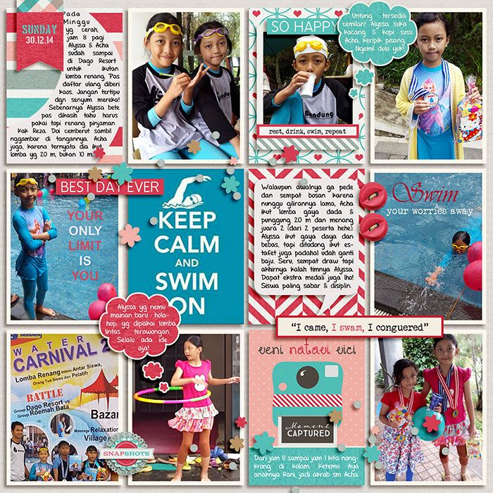 30.11.2014 Lomba Renang. Snapshot by Tickle Pink Studio. Pocket Scraps : Text Path 1 by Misty Cato. 365 Unscripted : Stitched Grids 2 by Traci Reed.