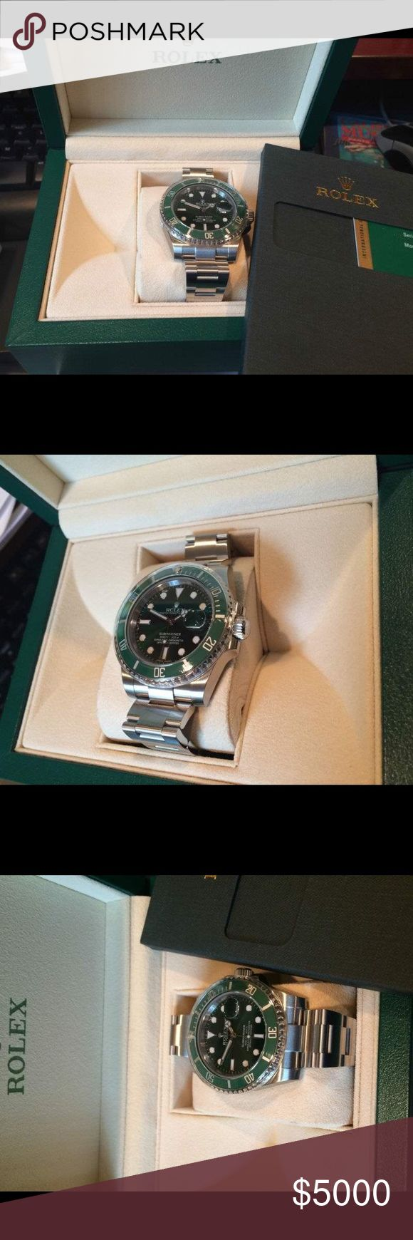 Rolex NIB 116610LV 40MM SS Submariner Date Green (214)617-4883. 40MM Rolex 116610 Reference Submariner Date. It is stainless steel and comes on a genuine oyster flip-lock band. The original warranty papers and box are included. Newest mixed serial number. The dial is original, green gold with raised hour markers. The quickset movement is running well. Don't pass up the opportunity to purchase this desirable wristwatch. Overall condition is unworn with plastic seals in tact. FED EX 2-3 day…