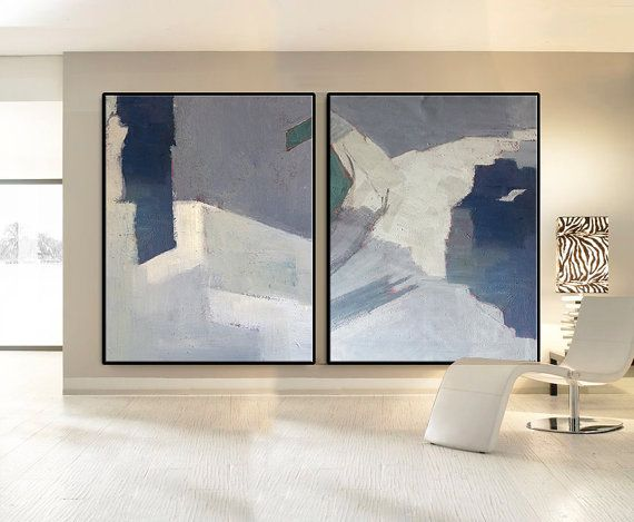 Set Of 2 Large Contemporary Painting, Abstract Canvas Art, Original Artwork, Hand paint. Blue, orange, pink, green, white, gray.