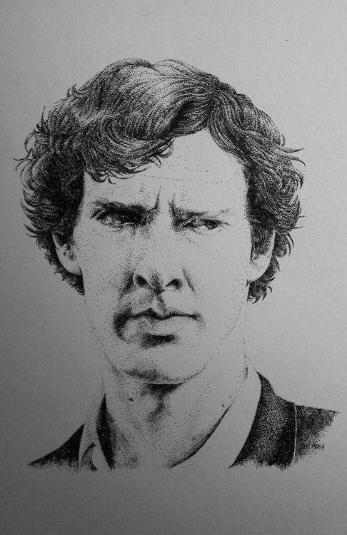 BBC's Sherlock / Benedict Cumberbatch. Pointilism, fineliner